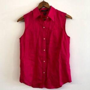 NWOT Lauren Ralph Lauren Hot Pink 100% Linen Shirt